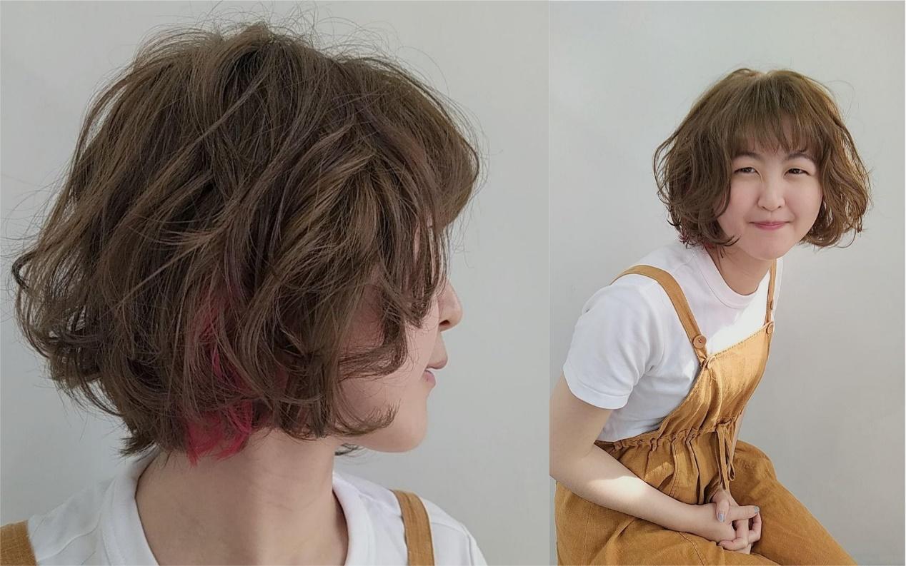 短髮捲髮-內外捲短鮑伯-韓系小姐姐風 台中COLOR