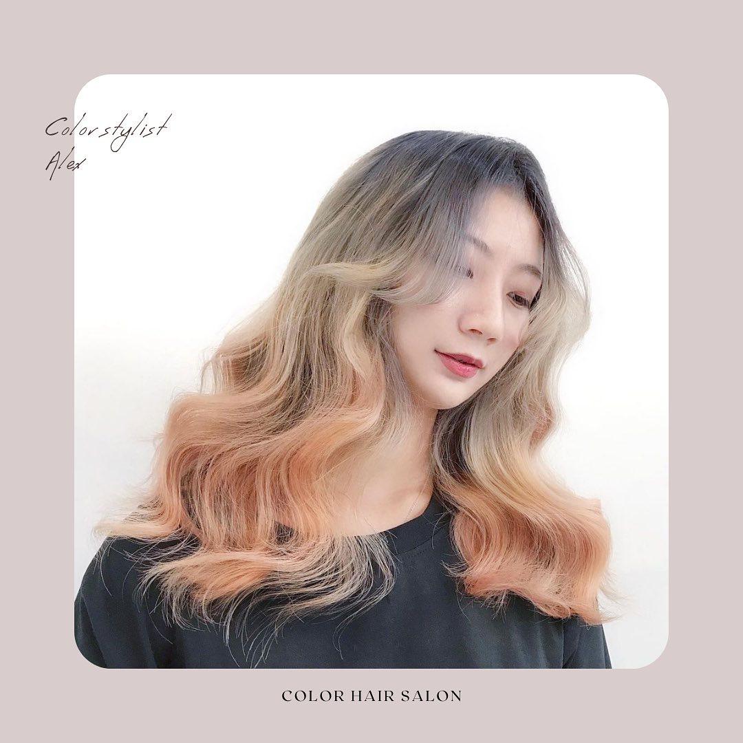 漸層染髮-鮮明活潑_金透搖滾 台中COLOR粉紅