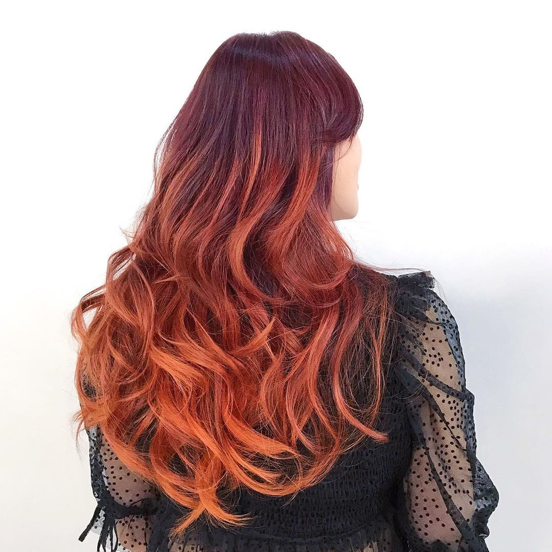 漸層染髮-奔放狂野_夕陽下的葡萄紅 台中COLOR