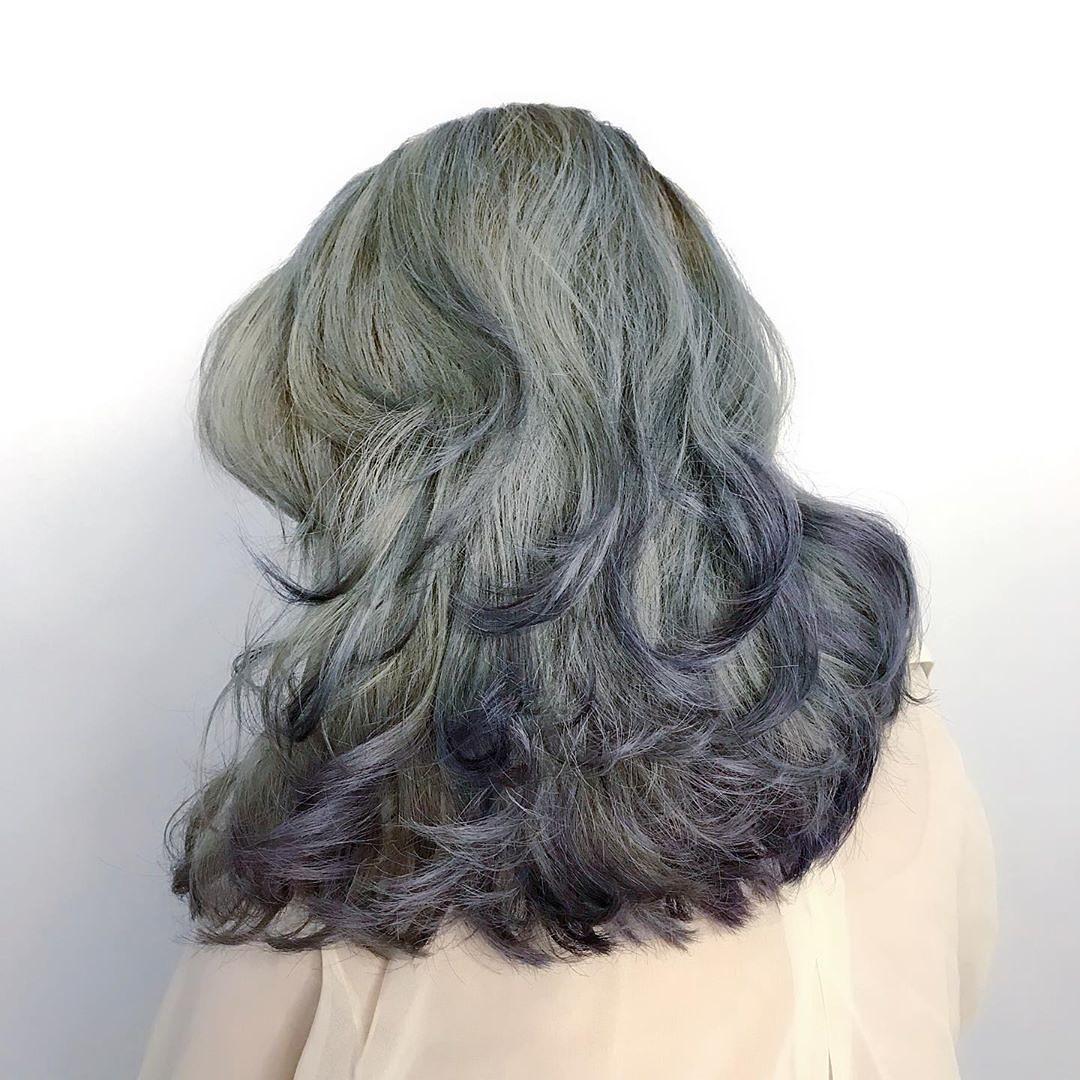漸層染髮-高雅深沉_青色FEAT藍石蓮 台中COLOR粉紅